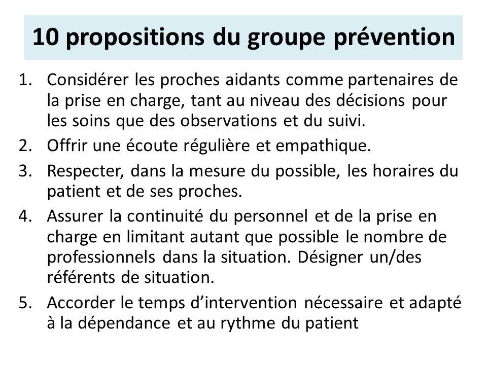 1.Considérer les proches aidants comme partenaires de la prise en charge, tant au niveau des décisions pour les soins que des observations et du suivi