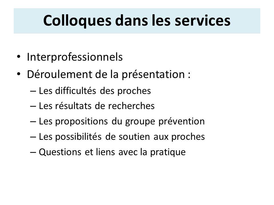Interprofessionnels Déroulement de la présentation : – Les difficultés des proches – Les résultats de recherches – Les propositions du groupe préventi