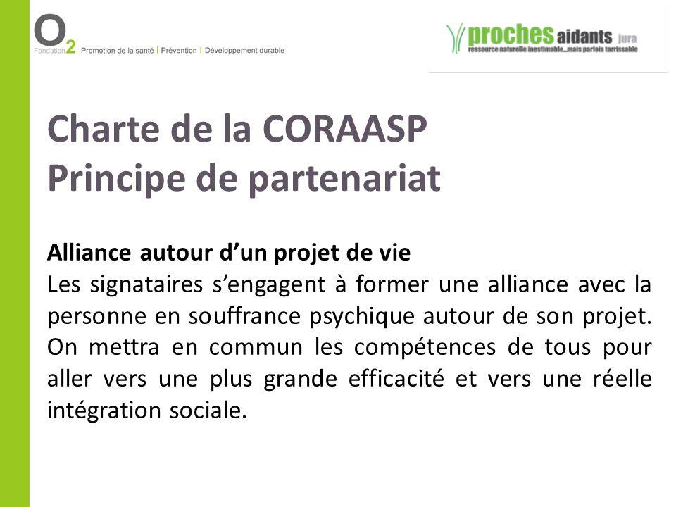 Charte de la CORAASP Principe de partenariat Alliance autour dun projet de vie Les signataires sengagent à former une alliance avec la personne en sou