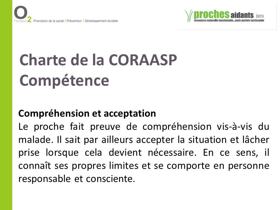 Charte de la CORAASP Compétence Compréhension et acceptation Le proche fait preuve de compréhension vis-à-vis du malade. Il sait par ailleurs accepter