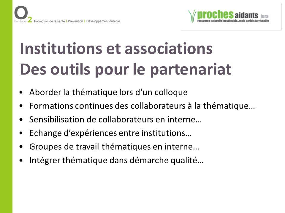Institutions et associations Des outils pour le partenariat Aborder la thématique lors d'un colloque Formations continues des collaborateurs à la thém