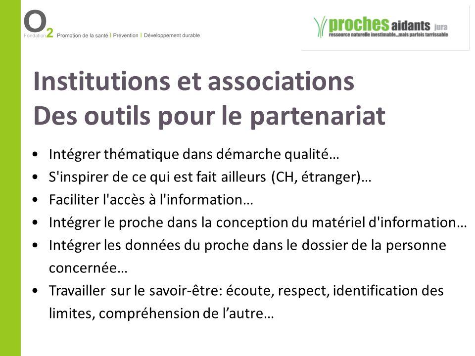 Institutions et associations Des outils pour le partenariat Intégrer thématique dans démarche qualité… S'inspirer de ce qui est fait ailleurs (CH, étr