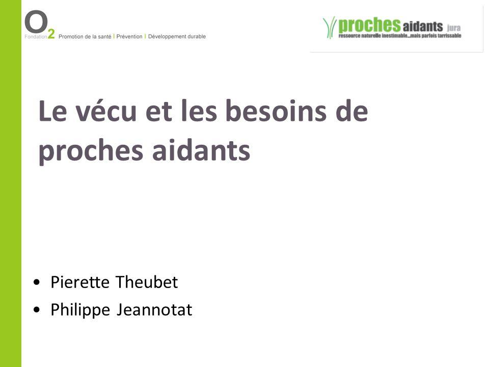 Le vécu et les besoins de proches aidants Pierette Theubet Philippe Jeannotat