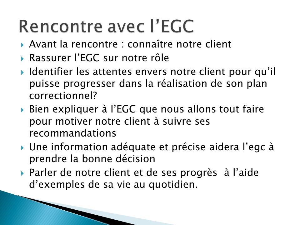 Avant la rencontre : connaître notre client Rassurer lEGC sur notre rôle Identifier les attentes envers notre client pour quil puisse progresser dans