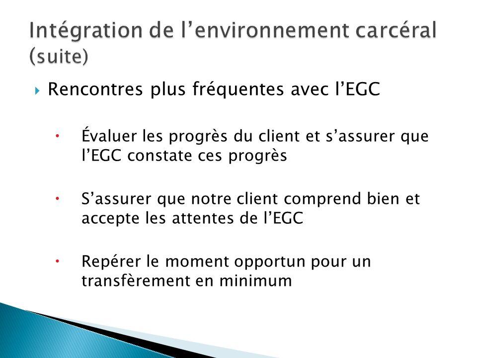 Rencontres plus fréquentes avec lEGC Évaluer les progrès du client et sassurer que lEGC constate ces progrès Sassurer que notre client comprend bien e