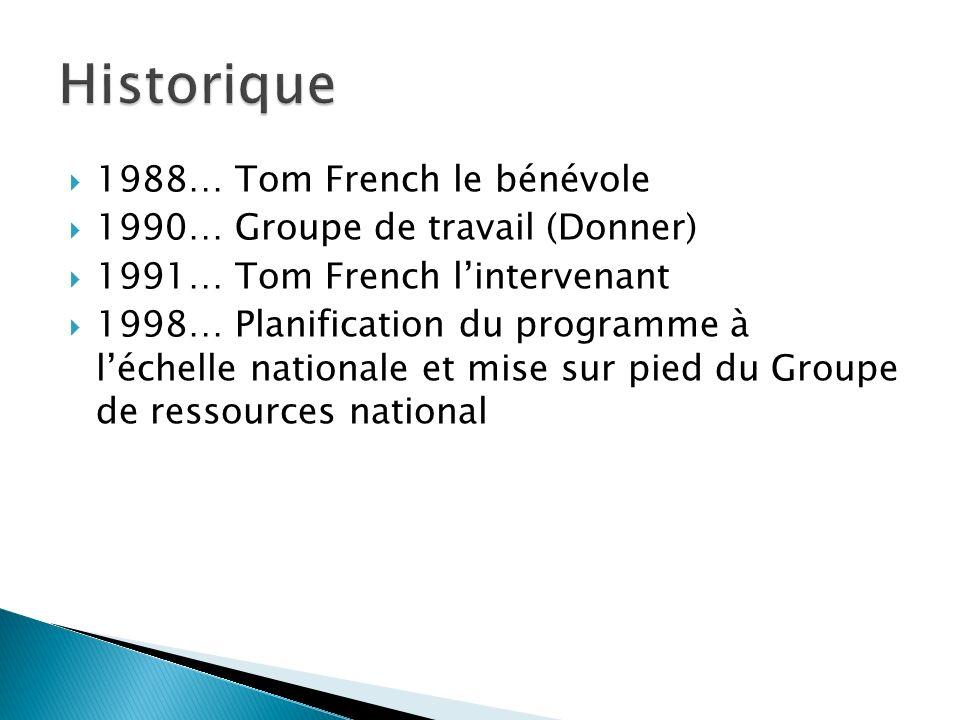 1988… Tom French le bénévole 1990… Groupe de travail (Donner) 1991… Tom French lintervenant 1998… Planification du programme à léchelle nationale et m