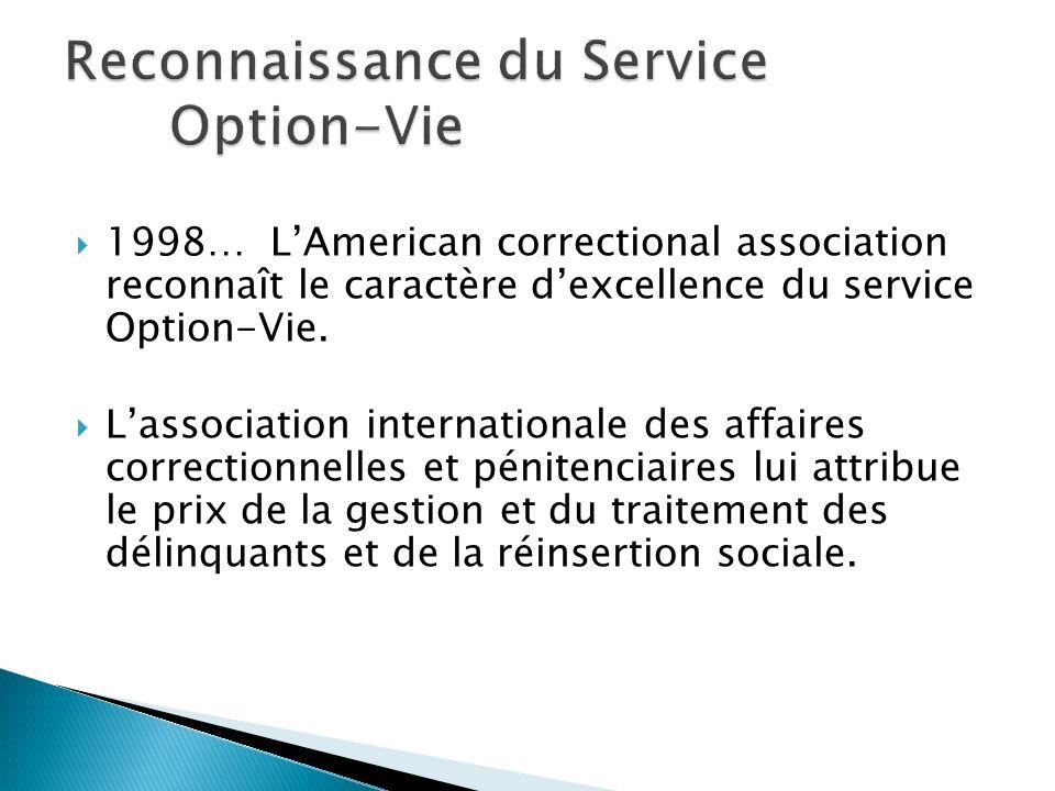 1998… LAmerican correctional association reconnaît le caractère dexcellence du service Option-Vie. Lassociation internationale des affaires correction