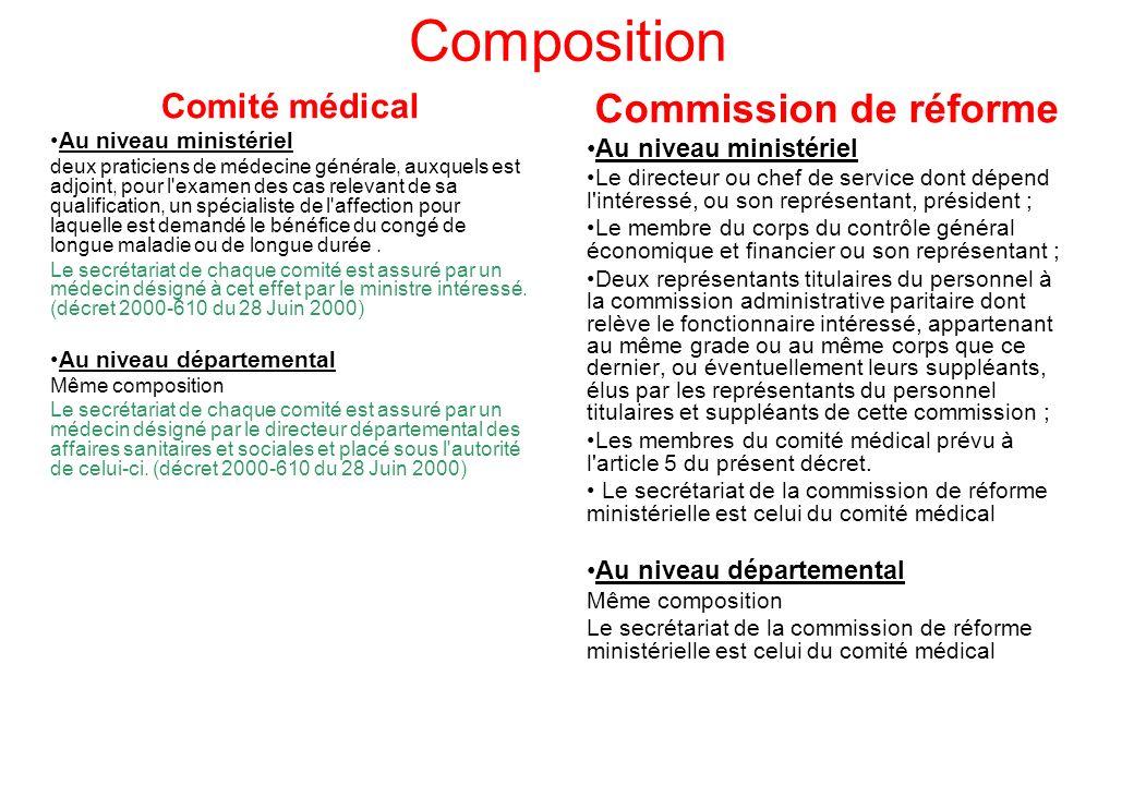 Composition Comité médical Au niveau ministériel deux praticiens de médecine générale, auxquels est adjoint, pour l'examen des cas relevant de sa qual