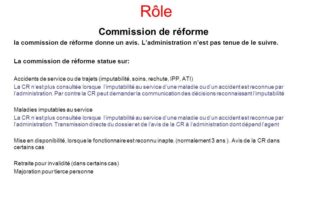 Rôle Commission de réforme la commission de réforme donne un avis. Ladministration nest pas tenue de le suivre. La commission de réforme statue sur: A