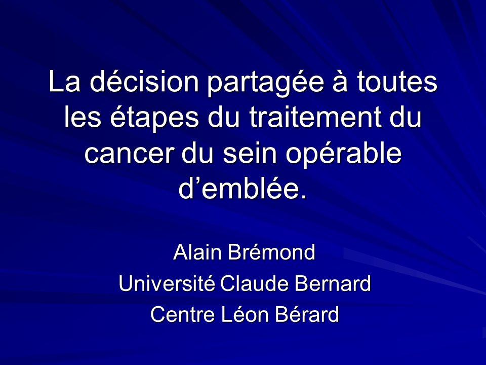 La décision partagée à toutes les étapes du traitement du cancer du sein opérable demblée. Alain Brémond Université Claude Bernard Centre Léon Bérard