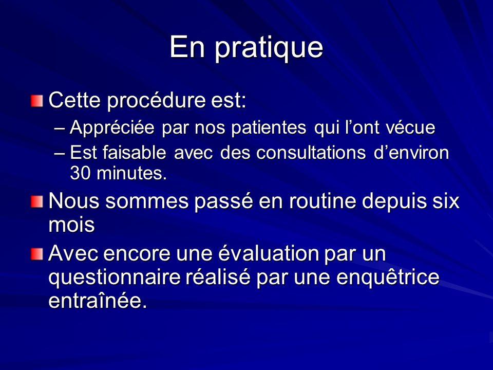 En pratique Cette procédure est: –Appréciée par nos patientes qui lont vécue –Est faisable avec des consultations denviron 30 minutes. Nous sommes pas