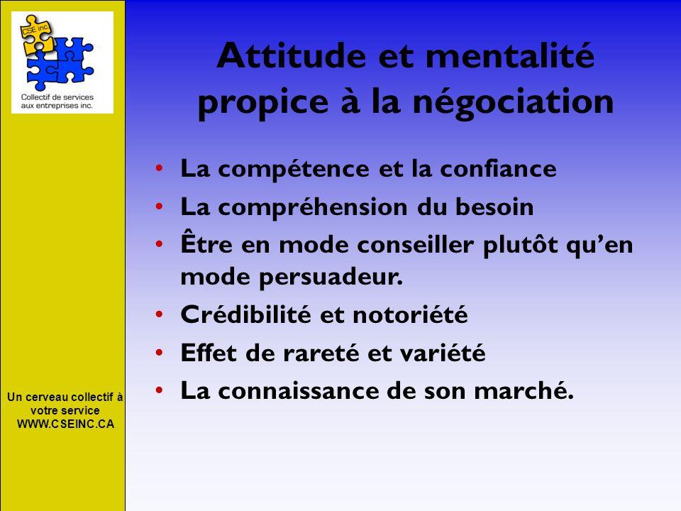 Un cerveau collectif à votre service WWW.CSEINC.CA Attitude et mentalité propice à la négociation La compétence et la confiance La compréhension du be