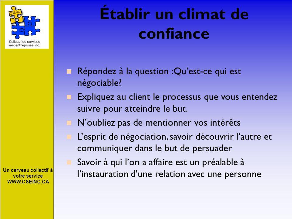 Un cerveau collectif à votre service WWW.CSEINC.CA Établir un climat de confiance Répondez à la question :Quest-ce qui est négociable? Expliquez au cl