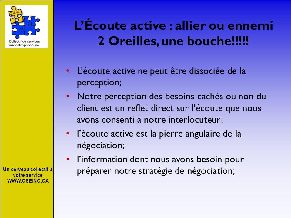 Un cerveau collectif à votre service WWW.CSEINC.CA LÉcoute active : allier ou ennemi 2 Oreilles, une bouche!!!!! Lécoute active ne peut être dissociée