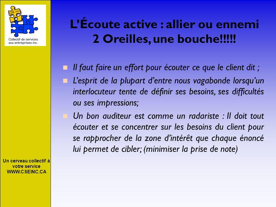 Un cerveau collectif à votre service WWW.CSEINC.CA LÉcoute active : allier ou ennemi 2 Oreilles, une bouche!!!!! Il faut faire un effort pour écouter