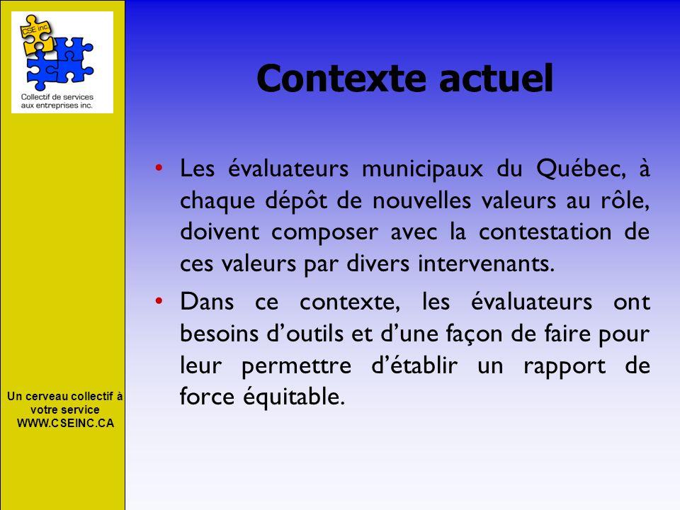 Un cerveau collectif à votre service WWW.CSEINC.CA Contexte actuel Les évaluateurs municipaux du Québec, à chaque dépôt de nouvelles valeurs au rôle,