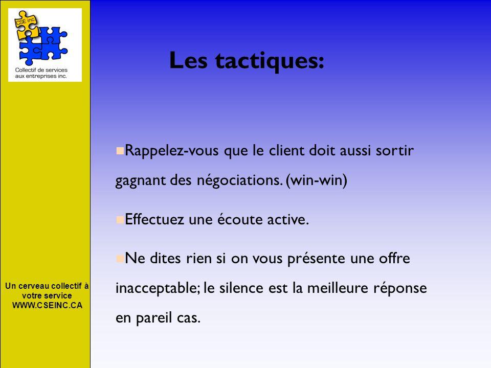 Un cerveau collectif à votre service WWW.CSEINC.CA Les tactiques: Rappelez-vous que le client doit aussi sortir gagnant des négociations. (win-win) Ef