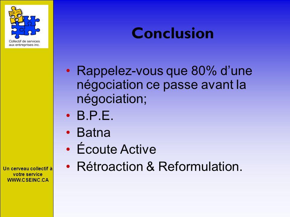 Un cerveau collectif à votre service WWW.CSEINC.CA Conclusion Rappelez-vous que 80% dune négociation ce passe avant la négociation; B.P.E. Batna Écout