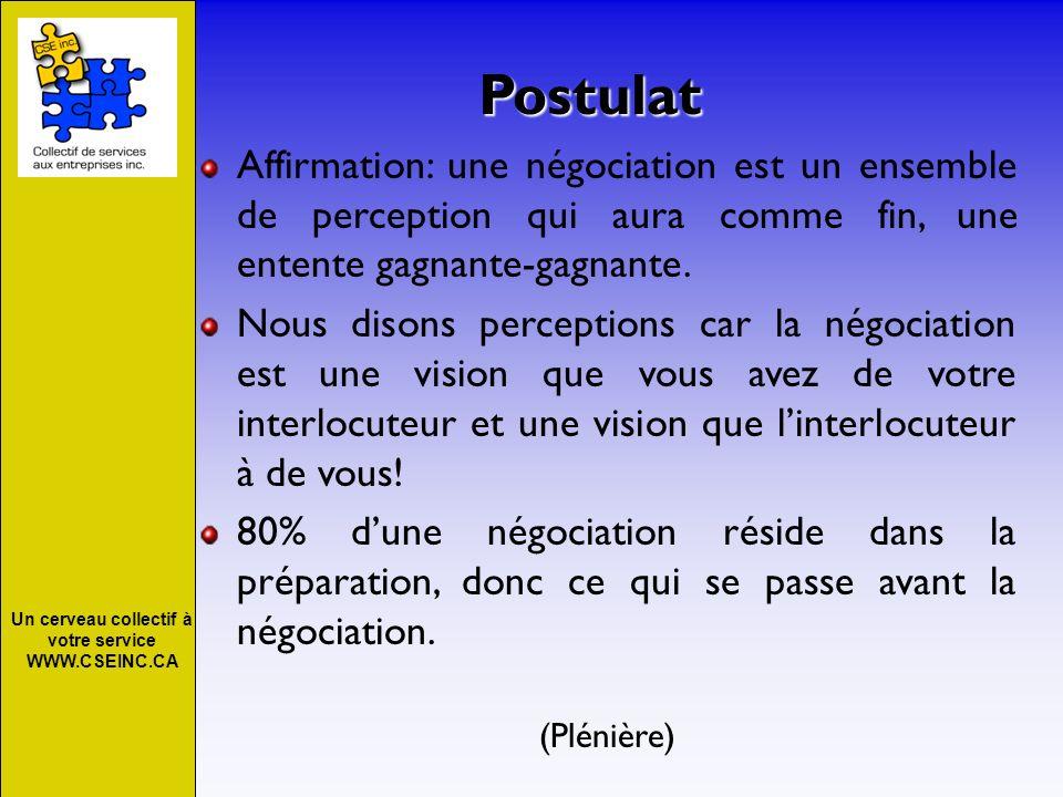 Un cerveau collectif à votre service WWW.CSEINC.CA Conclusion Rappelez-vous que 80% dune négociation ce passe avant la négociation; B.P.E.
