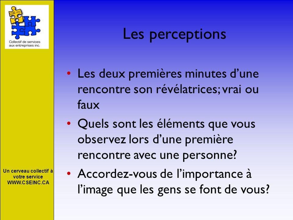 Un cerveau collectif à votre service WWW.CSEINC.CA Quelques principes à adopter perceptions Une bonne négociation cest lorsque les deux parties ont la perceptions quils ont obtenus ce quils voulaient.