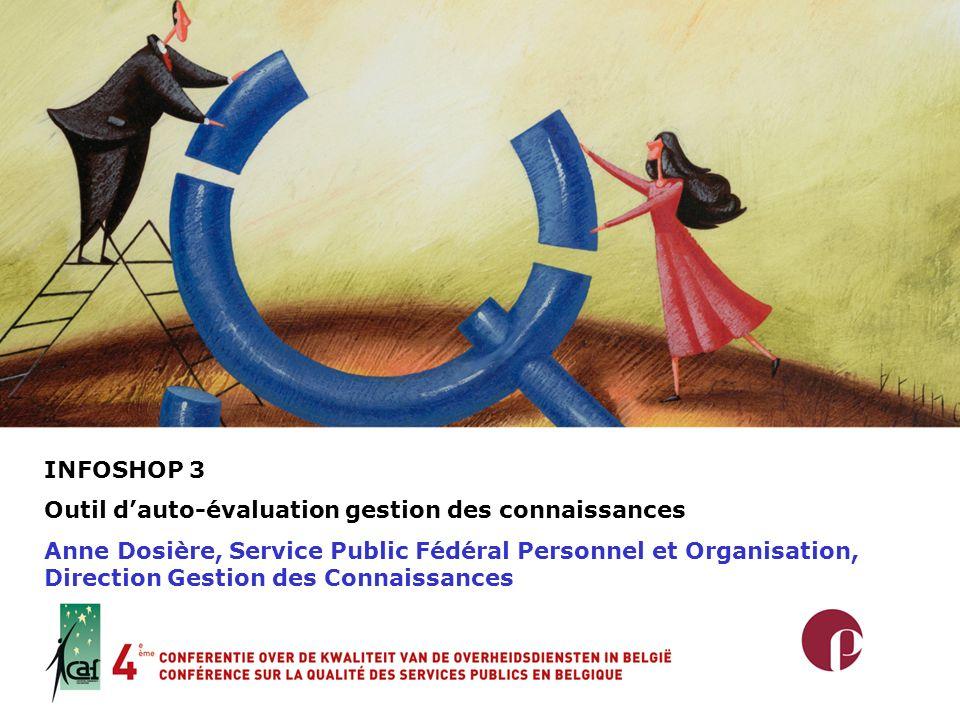 INFOSHOP 3 Outil dauto-évaluation gestion des connaissances Anne Dosière, Service Public Fédéral Personnel et Organisation, Direction Gestion des Conn