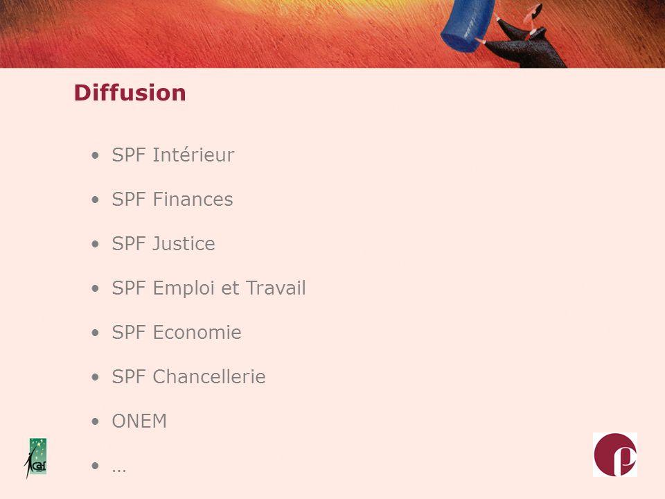 SPF Intérieur SPF Finances SPF Justice SPF Emploi et Travail SPF Economie SPF Chancellerie ONEM … Diffusion