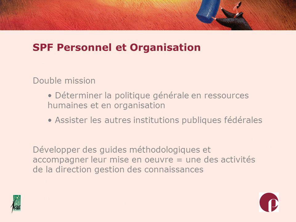 SPF Personnel et Organisation Double mission Déterminer la politique générale en ressources humaines et en organisation Assister les autres institutio