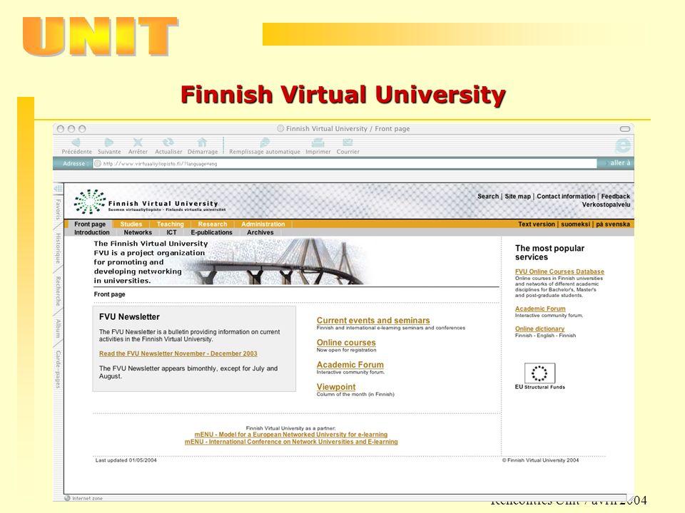 Rencontres Unit 7 avril 2004 Finnish Virtual University