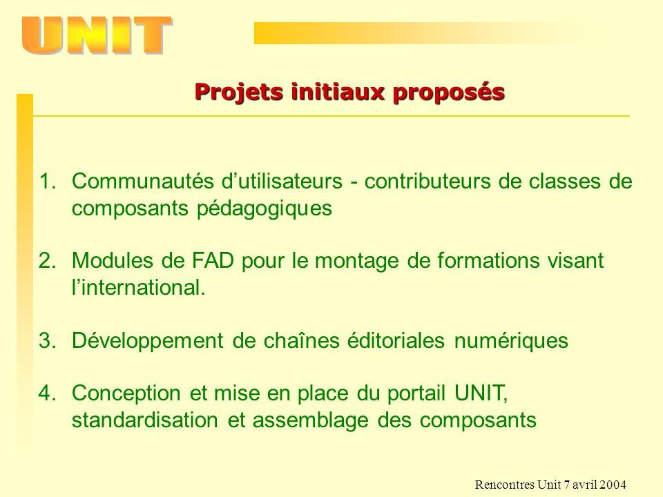 Rencontres Unit 7 avril 2004 Projets initiaux proposés 1.Communautés dutilisateurs - contributeurs de classes de composants pédagogiques 2.Modules de
