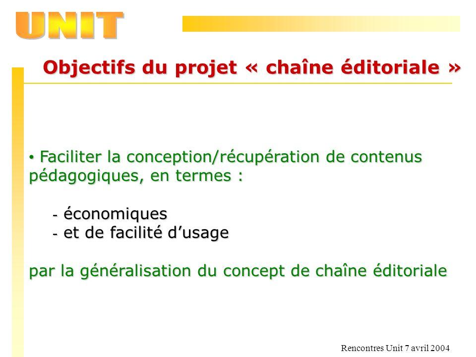 Rencontres Unit 7 avril 2004 Objectifs du projet « chaîne éditoriale » Faciliter la conception/récupération de contenus pédagogiques, en termes : Faci