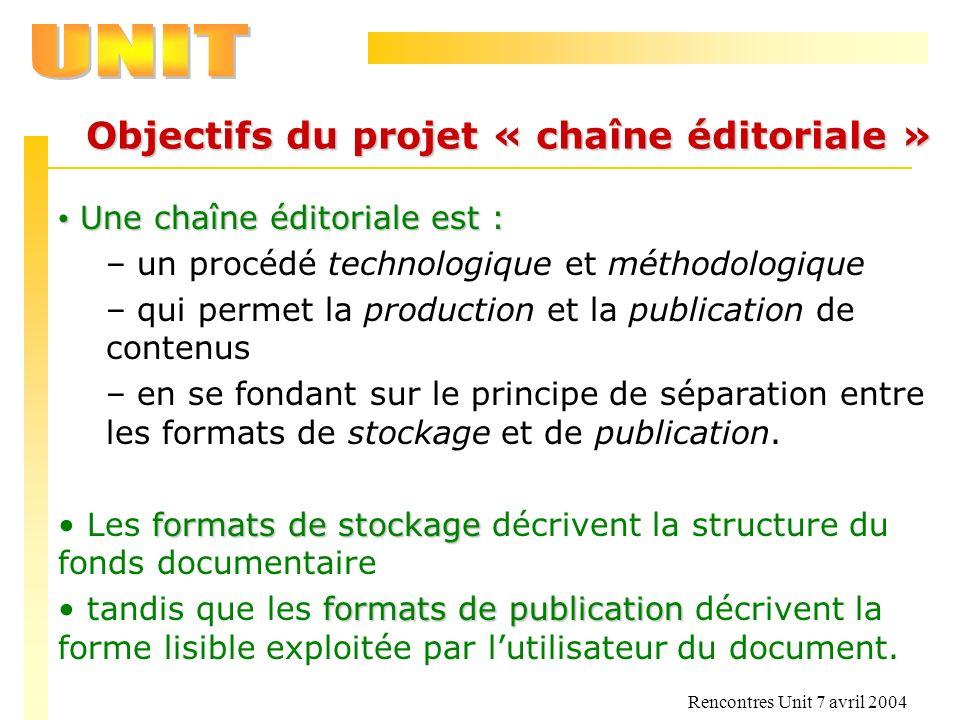 Rencontres Unit 7 avril 2004 Objectifs du projet « chaîne éditoriale » Une chaîne éditoriale est : Une chaîne éditoriale est : – un procédé technologi
