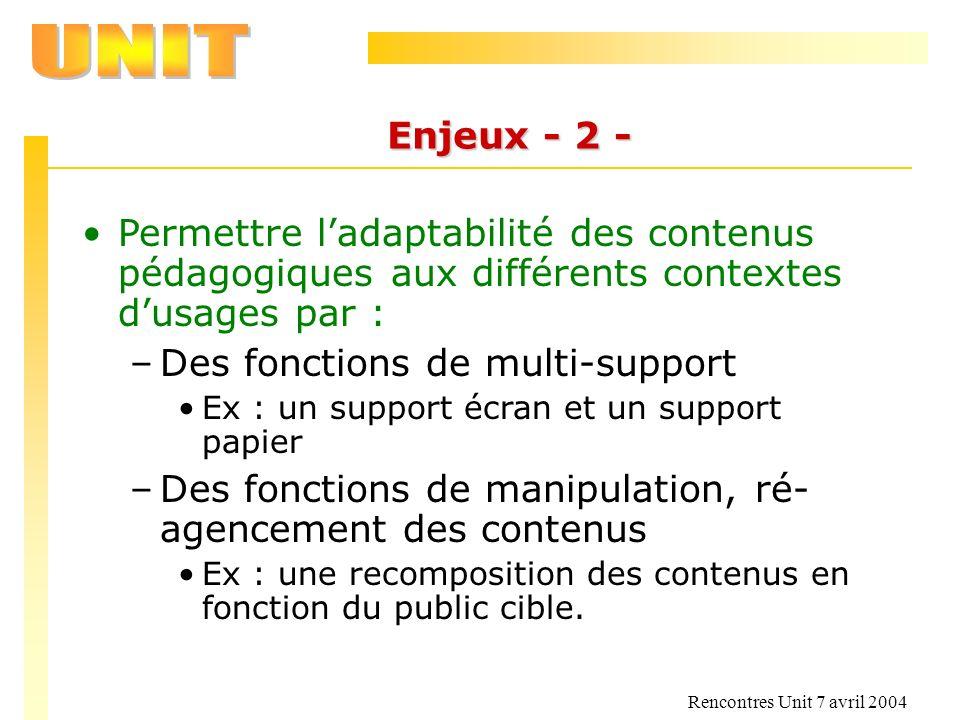 Rencontres Unit 7 avril 2004 Enjeux - 2 - Permettre ladaptabilité des contenus pédagogiques aux différents contextes dusages par : –Des fonctions de m