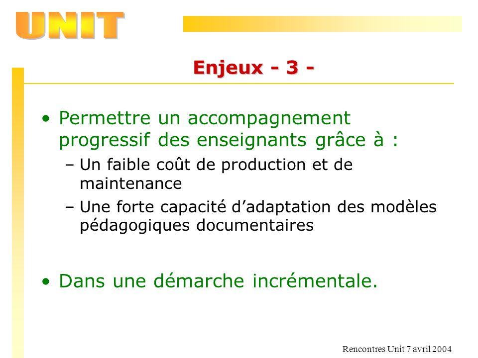 Rencontres Unit 7 avril 2004 Enjeux - 3 - Permettre un accompagnement progressif des enseignants grâce à : –Un faible coût de production et de mainten