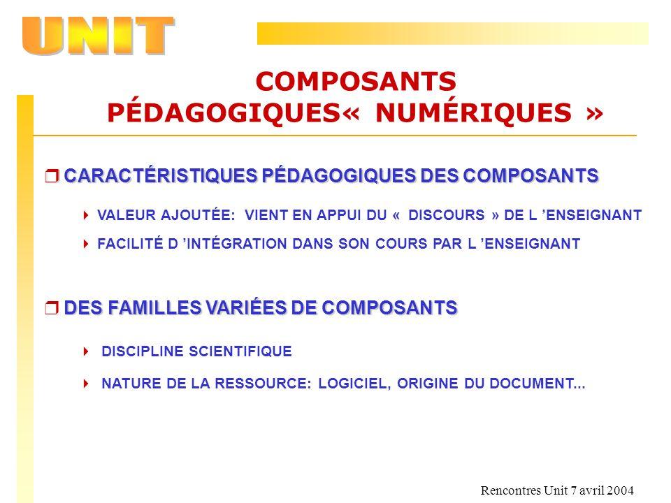 Rencontres Unit 7 avril 2004 COMPOSANTS PÉDAGOGIQUES« NUMÉRIQUES » r CARACTÉRISTIQUES PÉDAGOGIQUES DES COMPOSANTS VALEUR AJOUTÉE: VIENT EN APPUI DU «