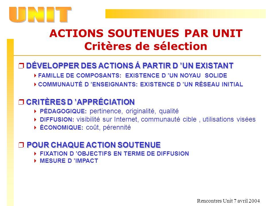 Rencontres Unit 7 avril 2004 ACTIONS SOUTENUES PAR UNIT Critères de sélection DÉVELOPPER DES ACTIONS Á PARTIR D UN EXISTANT r DÉVELOPPER DES ACTIONS Á
