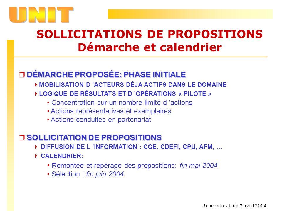 Rencontres Unit 7 avril 2004 SOLLICITATIONS DE PROPOSITIONS Démarche et calendrier r DÉMARCHE PROPOSÉE: PHASE INITIALE MOBILISATION D ACTEURS DÉJA ACT