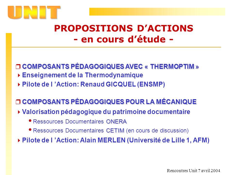 Rencontres Unit 7 avril 2004 PROPOSITIONS DACTIONS - en cours détude - r COMPOSANTS PÉDAGOGIQUES AVEC « THERMOPTIM » Enseignement de la Thermodynamiqu