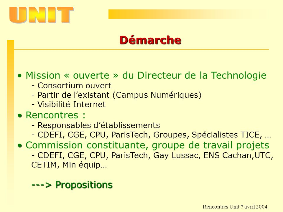 Rencontres Unit 7 avril 2004 Formation