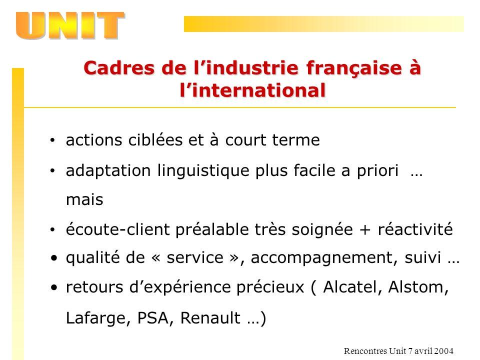 Rencontres Unit 7 avril 2004 Cadres de lindustrie française à linternational actions ciblées et à court terme adaptation linguistique plus facile a pr