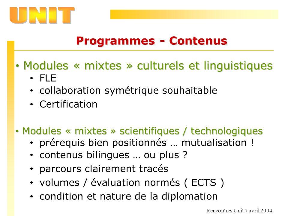 Rencontres Unit 7 avril 2004 Programmes - Contenus Modules « mixtes » culturels et linguistiques Modules « mixtes » culturels et linguistiques FLE col