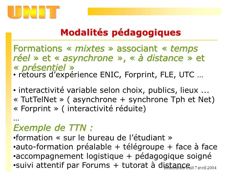 Rencontres Unit 7 avril 2004 Modalités pédagogiques Formations « mixtes » associant « temps réel » et « asynchrone », « à distance » et « présentiel »