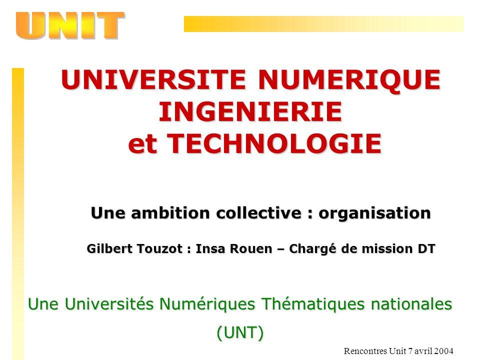 Rencontres Unit 7 avril 2004 UNIVERSITE NUMERIQUE INGENIERIE et TECHNOLOGIE et TECHNOLOGIE Une ambition collective : organisation Gilbert Touzot : Ins