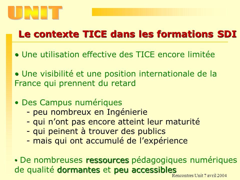 Rencontres Unit 7 avril 2004 Le contexte TICE dans les formations SDI Une utilisation effective des TICE encore limitée Une visibilité et une position