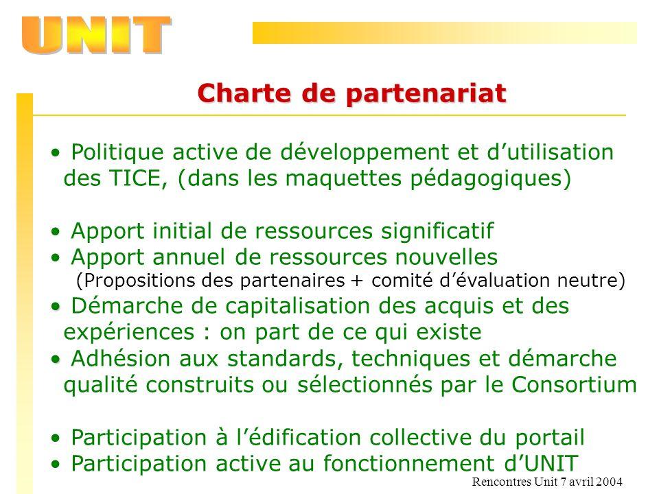 Rencontres Unit 7 avril 2004 Charte de partenariat Politique active de développement et dutilisation des TICE, (dans les maquettes pédagogiques) Appor