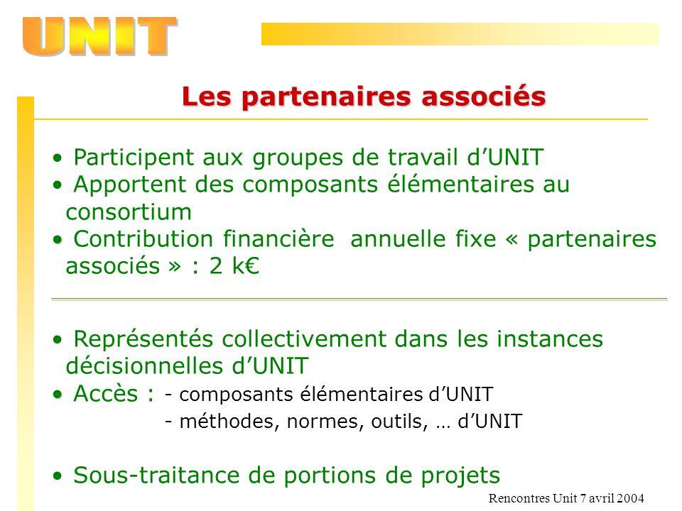 Rencontres Unit 7 avril 2004 Les partenaires associés Participent aux groupes de travail dUNIT Apportent des composants élémentaires au consortium Con