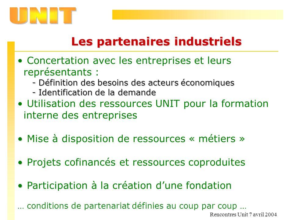Rencontres Unit 7 avril 2004 Les partenaires industriels Concertation avec les entreprises et leurs représentants : - Définition des besoins des acteu