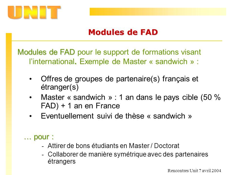 Rencontres Unit 7 avril 2004 Modules de FAD Modules de FAD. Modules de FAD pour le support de formations visant linternational. Exemple de Master « sa