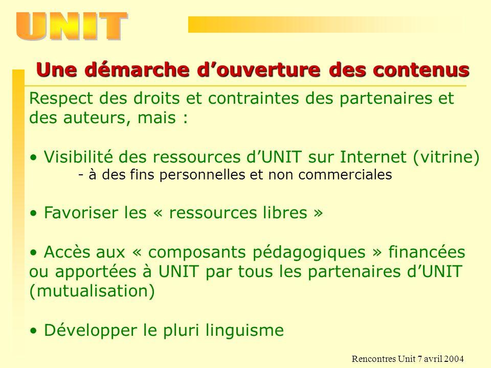 Rencontres Unit 7 avril 2004 Projets initiaux proposés 1.Communautés dutilisateurs - contributeurs de classes de composants pédagogiques 2.Modules de FAD pour le montage de formations visant linternational.