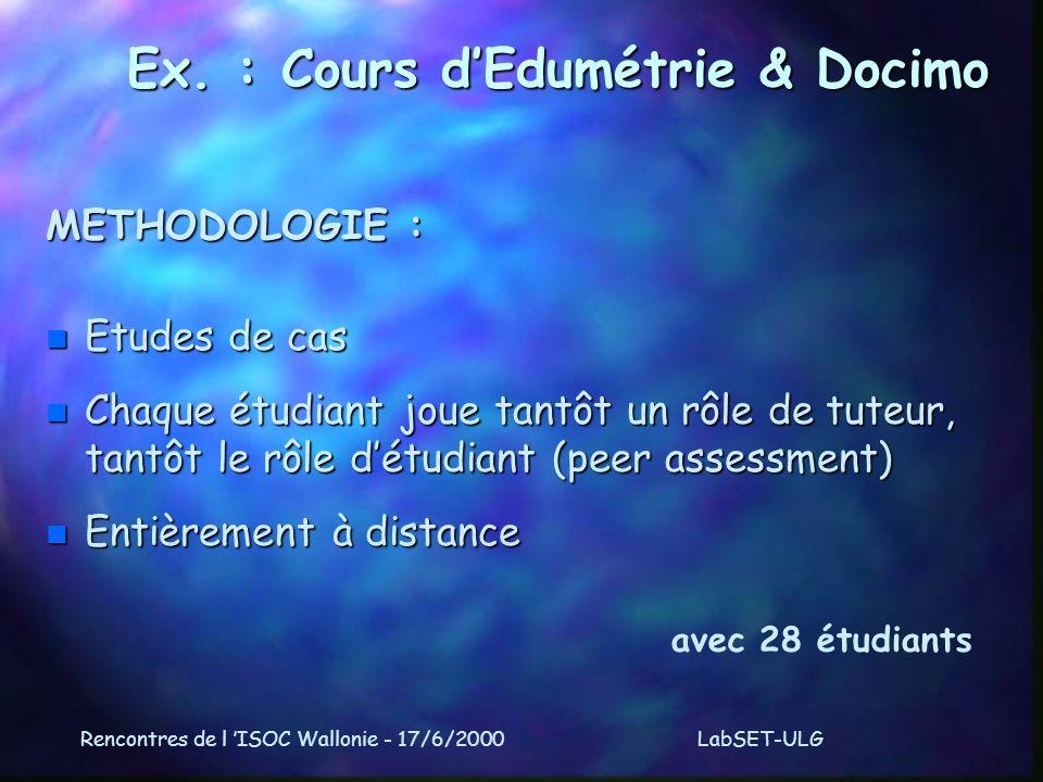 Rencontres de l ISOC Wallonie - 17/6/2000LabSET-ULG Ex.