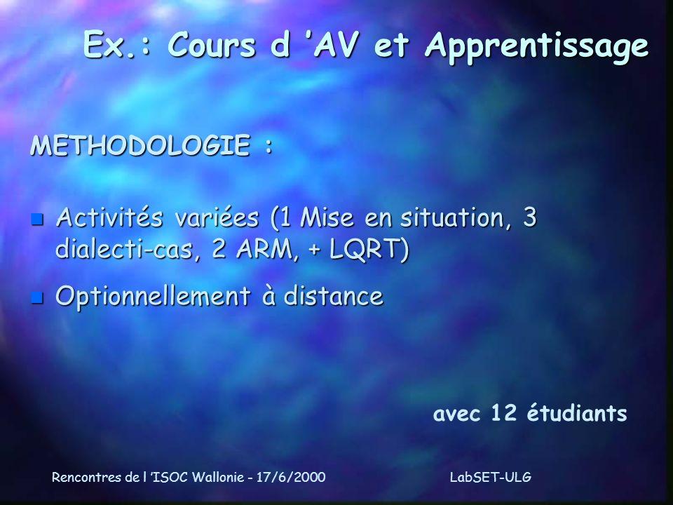 Rencontres de l ISOC Wallonie - 17/6/2000LabSET-ULG Ex.: Cours d AV et Apprentissage METHODOLOGIE : n Activités variées (1 Mise en situation, 3 dialecti-cas, 2 ARM, + LQRT) n Optionnellement à distance avec 12 étudiants